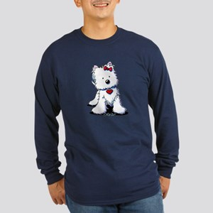 Westie Heart Girl Long Sleeve Dark T-Shirt