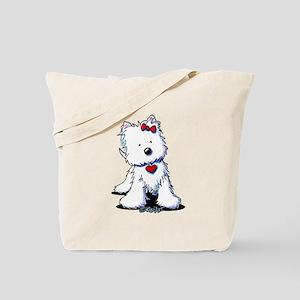 Westie Heart Girl Tote Bag