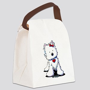 Westie Heart Girl Canvas Lunch Bag