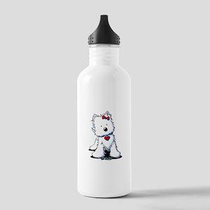Westie Heart Girl Stainless Water Bottle 1.0L