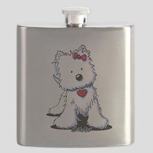 Westie Heart Girl Flask
