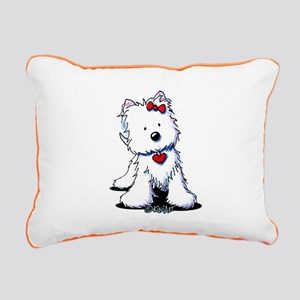 Westie Heart Girl Rectangular Canvas Pillow