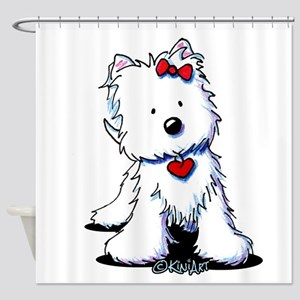 Westie Heart Girl Shower Curtain