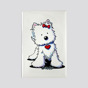 Westie Heart Girl Rectangle Magnet