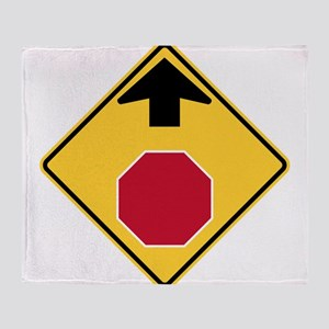 Stop Ahead Sign Throw Blanket
