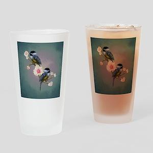 chickadee song birds Drinking Glass