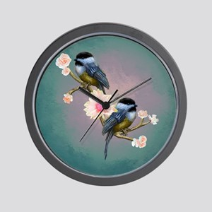 chickadee song birds Wall Clock