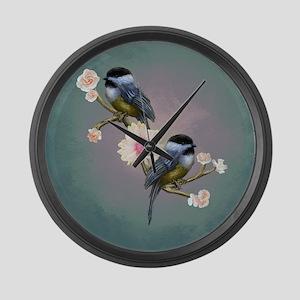 chickadee song birds Large Wall Clock