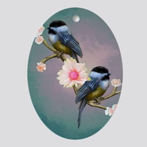 chickadee song birds Oval Ornament