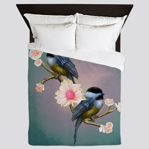 chickadee song birds Queen Duvet