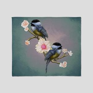 chickadee song birds Throw Blanket