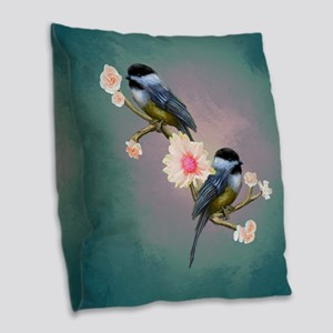 chickadee song birds Burlap Throw Pillow