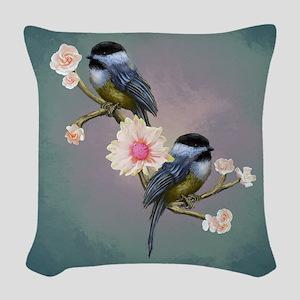 chickadee song birds Woven Throw Pillow