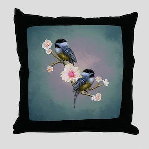 chickadee song birds Throw Pillow