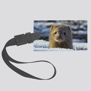 snowy weasel Large Luggage Tag