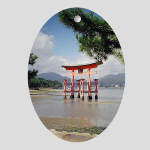 Miyajima red torii Ornament (Oval)
