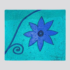 Blue Flower on Turquoise Throw Blanket