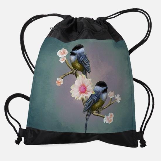 chickadee song birds Drawstring Bag