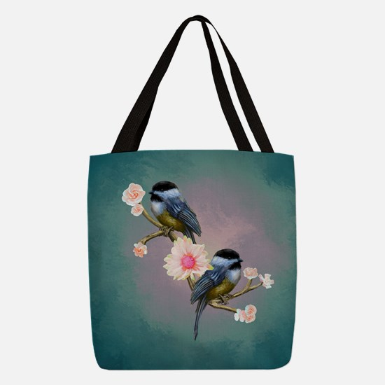 chickadee song birds Polyester Tote Bag