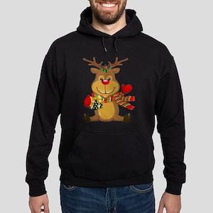Sitting Reindeer w Package Scarf Hoodie