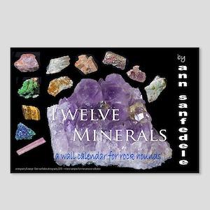 Twelve Minerals Wall Calendar cover Postcards (Pac