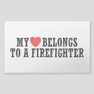 My Heart Belongs to a Firefighter Sticker (Rectang