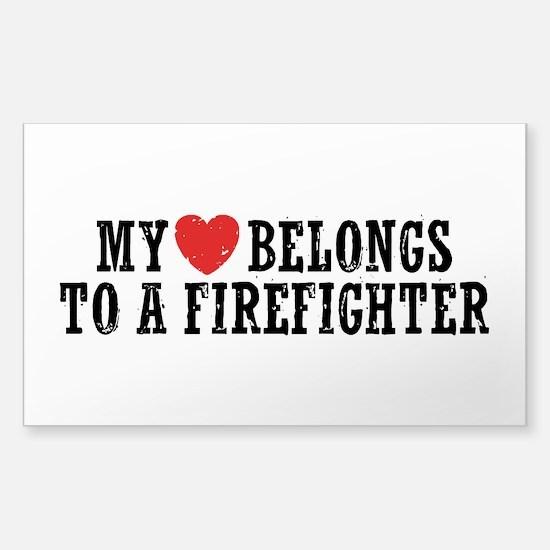 My Heart Belongs to a Firefighter Decal