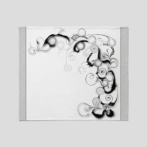 Black And White Swirls And Twirls Throw Blanket