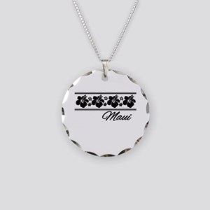B & W Maui Hibiscus Necklace Circle Charm