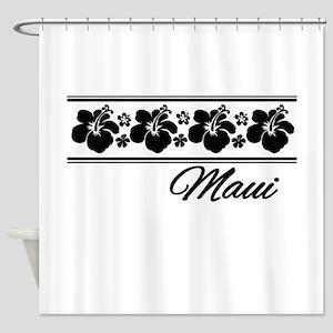 B & W Maui Hibiscus Shower Curtain
