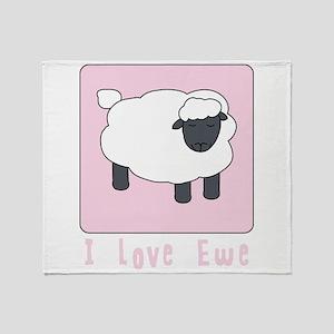 I Love Ewe Throw Blanket