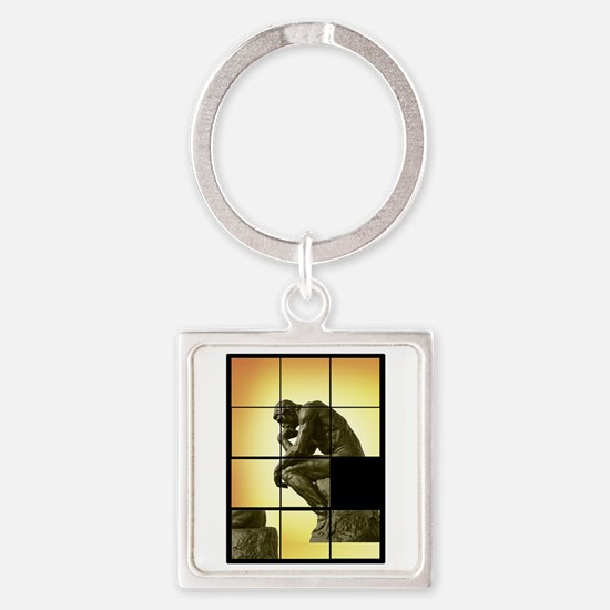 The Thinker, image sliding puzzle  Square Keychain