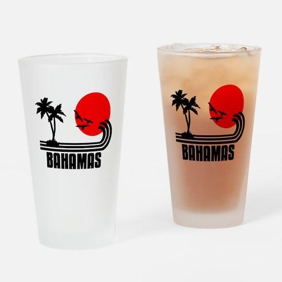 Bahamas, Sonne Palmen Strand Retro  Drinking Glass