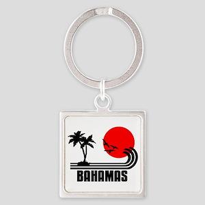 Bahamas, Sonne Palmen Strand Retro Square Keychain