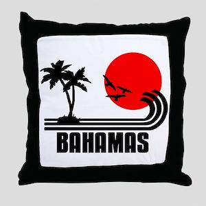Bahamas, Sonne Palmen Strand Retro De Throw Pillow