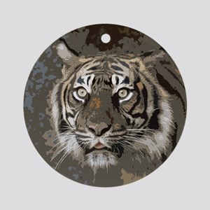 Tiger008 Round Ornament