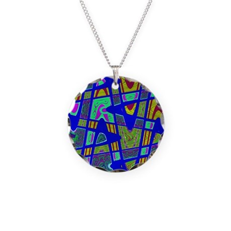Bright Blue Mod Abstract Necklace Circle Charm