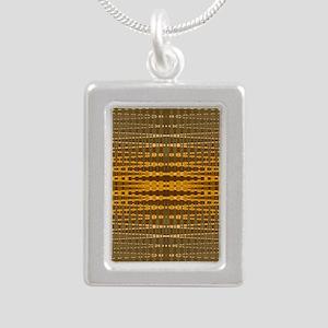 Elegant Gold beaded patt Silver Portrait Necklace