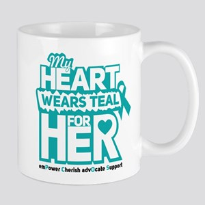 My heart wears teal for her - Teal Black Mugs