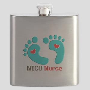 NICU nurse t-shirt blue feet Flask