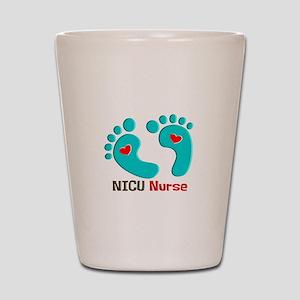 NICU nurse t-shirt blue feet Shot Glass