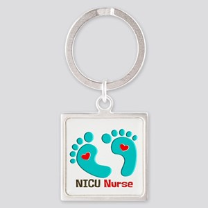 NICU nurse t-shirt blue feet Keychains