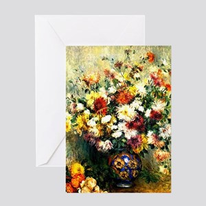 Renoir - Vase of Chrysanthemums Greeting Card