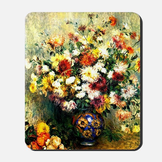 Renoir - Vase of Chrysanthemums Mousepad