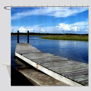 Fishing Dock Photography Shower Curtain