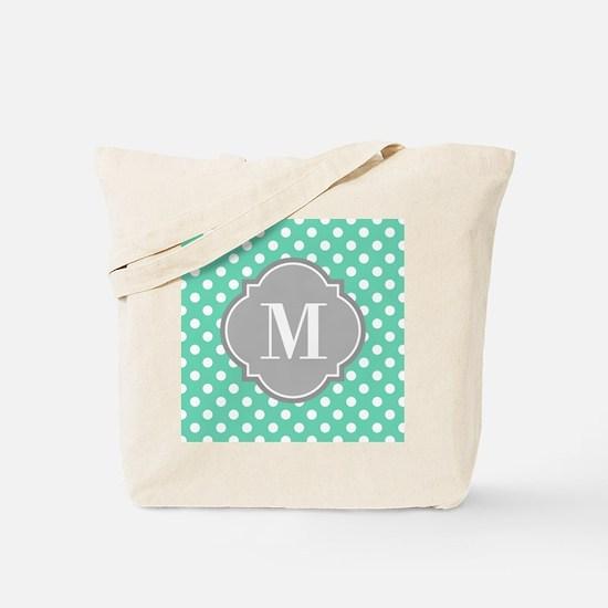 Monogrammed Mint White Polka Dots Tote Bag