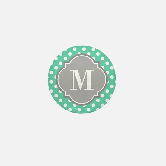 Monogrammed Mint White Polka Dots Mini Button