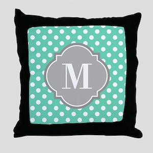 Monogrammed Mint White Polka Dots Throw Pillow