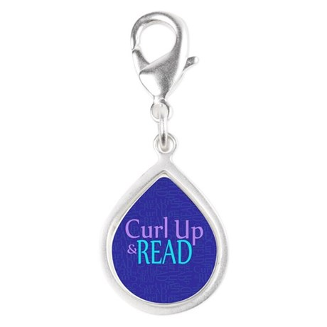 Curl Up and Read Silver Teardrop Charm