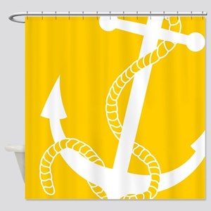 Nautical Big Anchor Yellow Shower Curtain